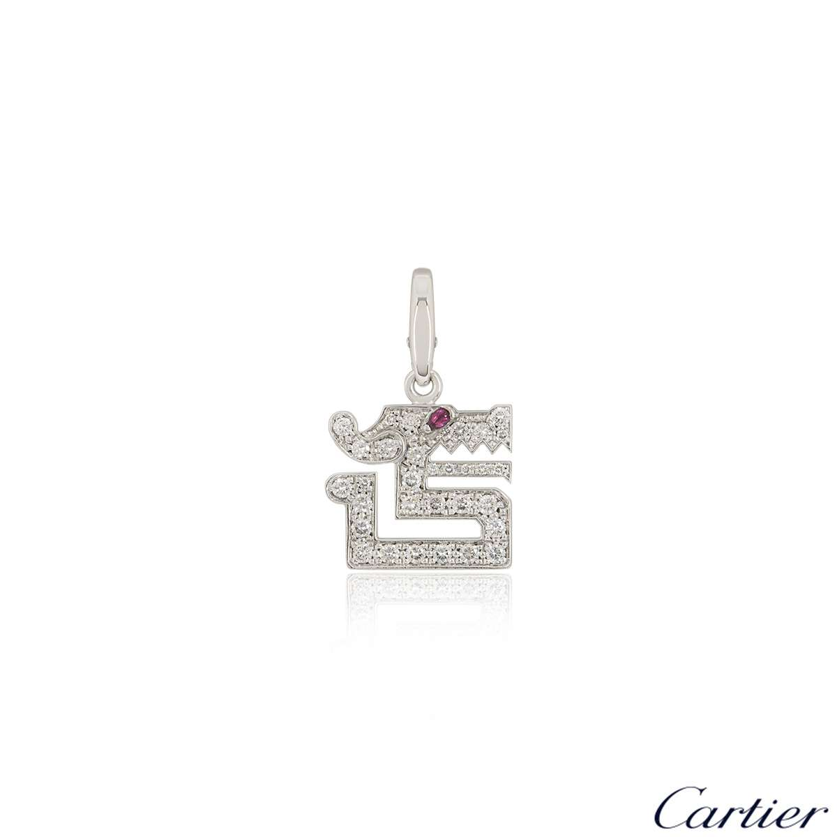 Cartier White Gold Diamond Le Baiser Du Dragon Charm